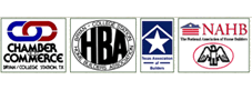 Member of Chamber of Commerce, HBA, TAH, NAHB, BBB