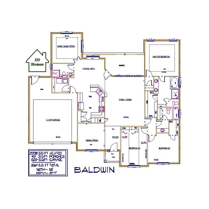 2d homes plans for Baldwin floor plan
